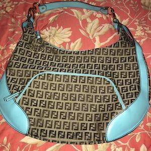 Fendi Zucchino hobo style shoulder purse.